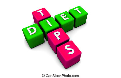 Diet Tips in Simple 3D Cubes on White