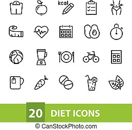 diet vector icons collection