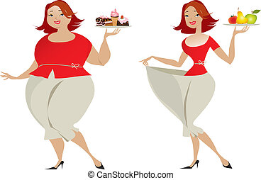 Diet - Vector illustration of changes in sizes choosing ...