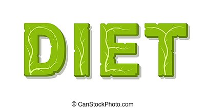 Diet vector lettering isolated on white background.