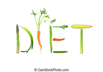Vegetable selection spelling the word diet, isolated over white background.
