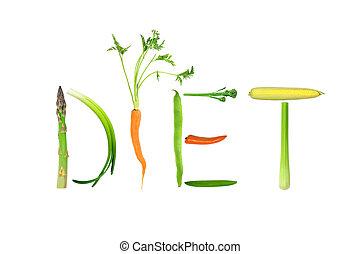 Diet Vegetables - Vegetable selection spelling the word...