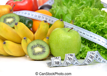 Diet weight loss breakfast concept with tape measure organic gre