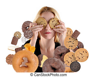 Diet Woman Hiding From Snack Food on White