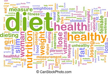 Diet word cloud - Word cloud concept illustration of healthy...