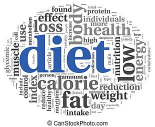dieta, conceito, em, tag, nuvem