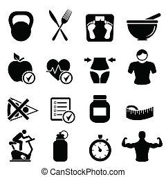 dieta, condición física, y, vida sana