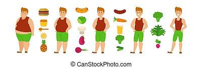 dieta, guapo, ilustración, ataque, vegetariano, vector,...