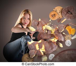 dieta, mujer, patear, porquerías