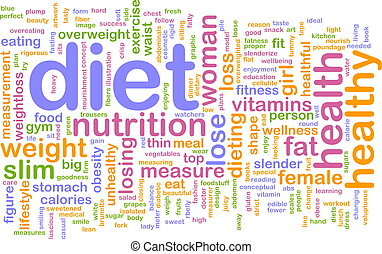 dieta, palabra, nube