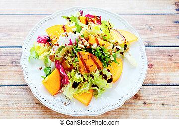 dieta, salada, com, persimmon, vista superior
