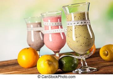 dieta sana, proteína, sacudidas, y, fruits