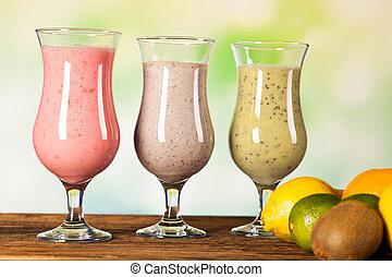 dieta saudável, proteína, agita, e, frutas