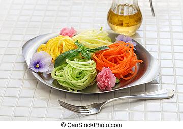 dieta saudável, vegetal, noodles, salada