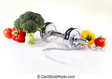 dieta, sport, nastro, caloria, misura