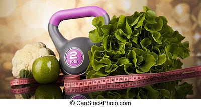 dieta, sport, taśma, kaloria, miara