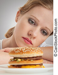 dieta, triste, menina, bonito, olhar, senta-se, hamburger
