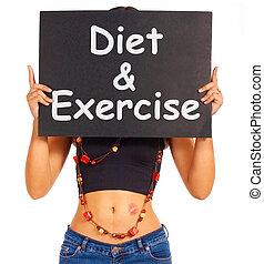 dieta, y, ejercicio, señal, exposiciones, pérdida de peso, consejo
