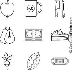 Dietary baking icons set, outline style