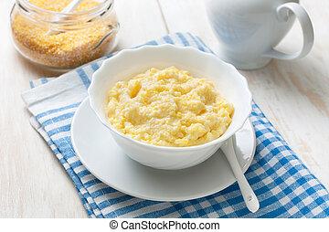 Dietary breakfast with corn porridge - Dietary healthy...