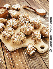Dietary buckwheat cookies  with sesame and spices