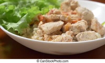 dietary dish. Brown rice with chicken fillet and vegetable...