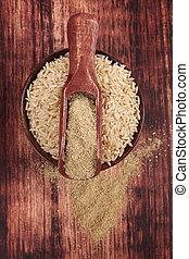 Dietary fiber. Detox concept. - Dietary fiber. Rice in round...
