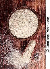 Dietary fiber psyllium. - Dietary fiber psyllium in round...