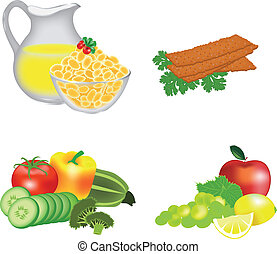 Dietary food: cereals, breads, fruits, vegetables