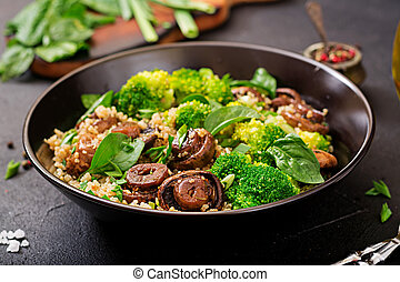 Dietary menu. Healthy vegan salad of vegetables - broccoli,...