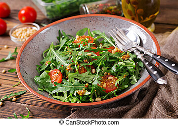 Dietary menu. Vegan cuisine. Healthy salad with arugula,...