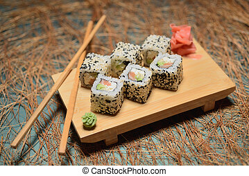 Dietary snack sushi on the table