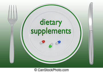 dietary supplements concept - 3D illustration of three ...