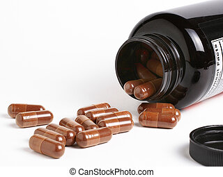 Dietary supplements flowing from a container