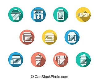 Dietary supplements round color vector icons - White...