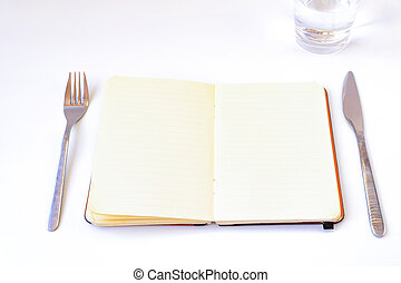 diete, tavola, concept., quaderno, aperto
