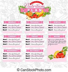 dietic, illustration., gezonde , schedule., dieet voedsel, vector, plan, planning., timetable., maaltijd, wekelijks