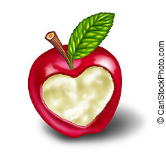 Dieting and healthy living natural food diet featuring a red apple with a heart shape carved into the ripe delicious fruit as a symbol and concept of healthcare and eating whole foods from nature on white with a green leaf.