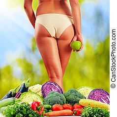 dieting., ausgeglichene diät, basierend, auf, roh, organische , gemuese