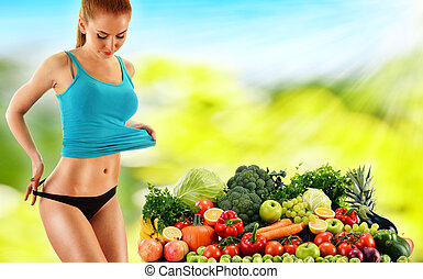 Balanced diet based on raw organic vegetables and fruits -...