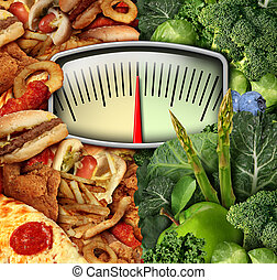 Dieting Choice - Dieting choice weight scale with unhealthy...