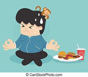 dieting, ciężar, zgubić
