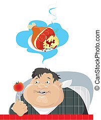 Dieting - Illustration of a fat boy on a diet dreaming about...
