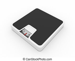 Dieting concept with scales isolated on the white. 3d rendered illustration