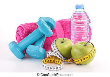 dieting food and fitness equipment