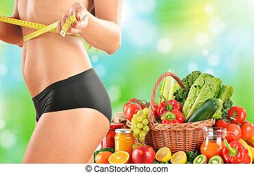 dieting., kiegyensúlyozott diéta, alapozott, képben látható, nyers, szerves, növényi