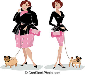 Dieting lady walking dog - Vector illustration of a lady ...