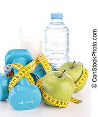 dieting, mat, och, lämplighet utrustning