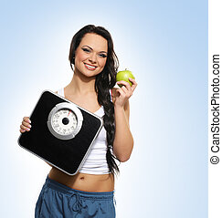 dieting, pojęcie, zdrowy, młoda kobieta, portret
