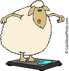 This illustration depicts a sheep standing on bathroom scales weighing herself.
